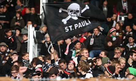 The St Pauli flag, pictured at a Bundesliga match between VfB Stuttgart and FC St. Pauli, 24 October 2010.