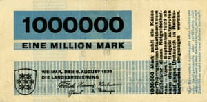 A 1 million mark note from Thuringia, 1923. The note was designed by the Bauhaus.