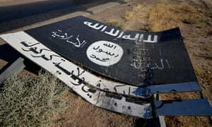 A toppled Isis sign