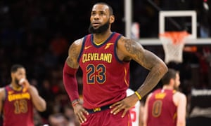 6ed6b1fe38f6 LeBron James of the Cleveland Cavaliers pauses between plays during the  first half against the Detroit