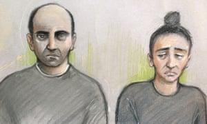 Court artist sketch of Ouissem Medouni (left), and his partner, Sabrina Kouider