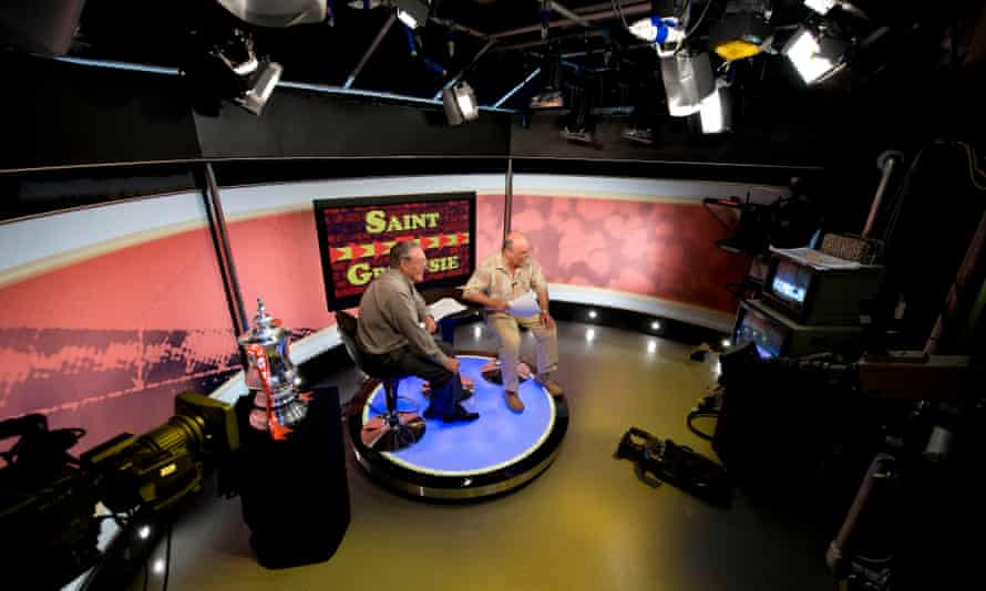 Ian St John and Jimmy Greaves on set for the filming of a Saint and Greavsie FA Cup final special for Setanta in 2009
