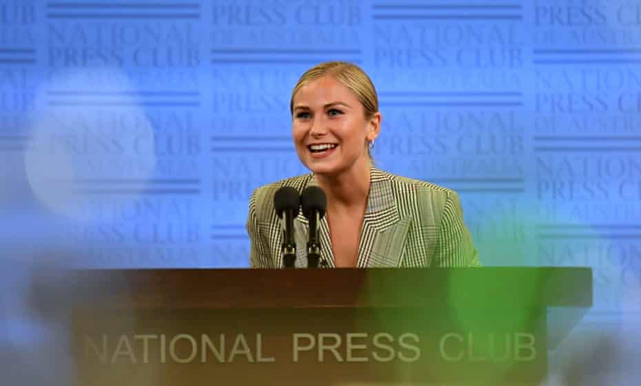 2021 Australian of the Year Grace Tame addresses the National Press Club.