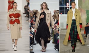 Trenchcoats This classic gets a twist with appliqué, embellishment, restructuring and a smattering of avant-garde attitude (left to right: Maison Margiela, Céline, Burberry).