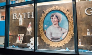 A display of Bath Gin in the window of a shop in the centre of the city of Bath makes use of a large portrait of Jane Austen.