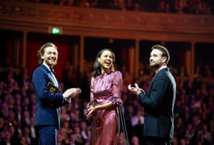 Zawe Ashton, Charlie Cox and Tom Hiddleston on stage to present best actress award, 209