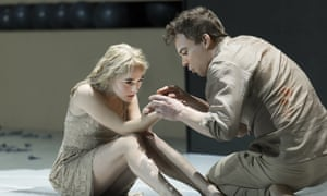 """Sophia Anne Caruso, left, and Michael C Hall perform in a scene from David Bowie and Enda Walsh's """"Lazarus"""
