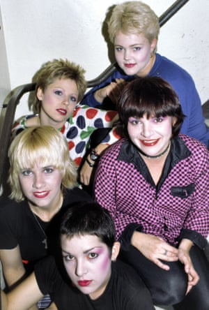 The Go-Go's in 1980: (clockwise from top) Belinda Carlisle, Margot Olavarria, Jane Wiedlin, Charlotte Caffey, Gina Schock.