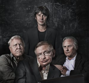 British scientists shot for a Guardian Weekend magazine feature, Of Mind and Matter. From left to right, David Attenborough, Brian Cox, Stephen Hawking and Richard Dawkins
