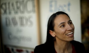 Sharice Davids talks to supporters.