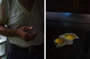 Left: Jerry Moffit in Webster county, West Virginia. Right: Eggs, Diana, West Virginia.