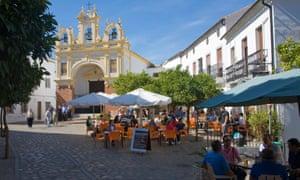 Village street and cafes Zahara de la Sierra.