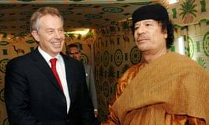 Tony Blair meeting Muammar Gaddafi in 2007.