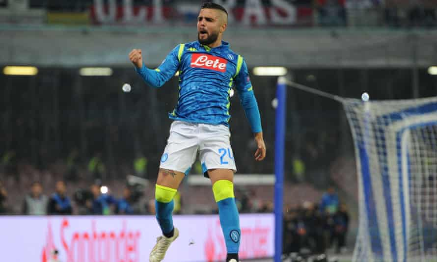 Napoli's Lorenzo Insigne celebrates after scoring his penalty against PSG to make it 1-1.