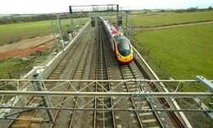 A Virgin Trains service on the west coast mainline near Soulbury, Buckinghamshire