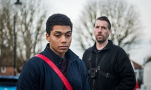 Jerome (Chance Perdomo) is pressured by the bailiff (Craig Parkinson) in the BBC drama.