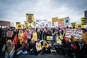 An anti-fracking protest at Preston New Road in Blackpool.