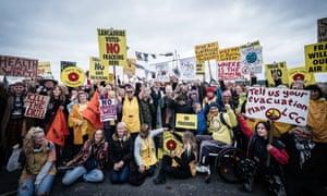 Anti-fracking protesters outside Cuadrilla's Preston New Road site