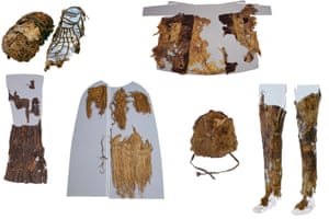 Assemblage of images of Ötzi the Iceman's clothing from the Museum of Archaeology, Bolzano. From top left: a shoe with grass interior (left) and leather exterior (right), the leather coat (reassembled), leather loincloth, grass coat, fur hat, and leather leggings.