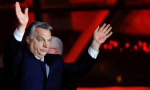 Prime minister Viktor Orbán addresses his supporters after declaring victory in the election.