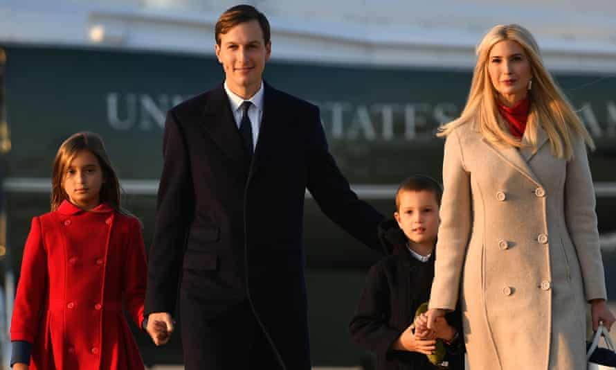 Ivanka Trump, with her husband, Jared Kushner, and their children, arriving at Joint Base Andrews on 22 September.