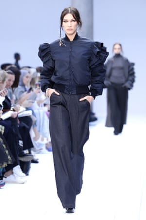 Bella Hadid in Max Mara at Milan fashion week .