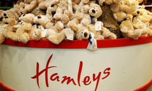 Soft toys on display at Hamleys toy shop in London.