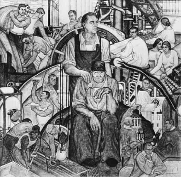 A mural fresco titled The New Deal, at the Leonardo Da Vinci art school in New York City.