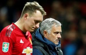 Jose Mourinho looks livi after Phil Jones's miss