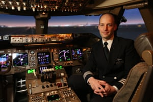 Mark Vanhoenacker in a BA 747 flight simulator at London Heathrow.
