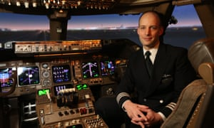 Mark Vanhoenacker in a British Airways 747 flight simulator.