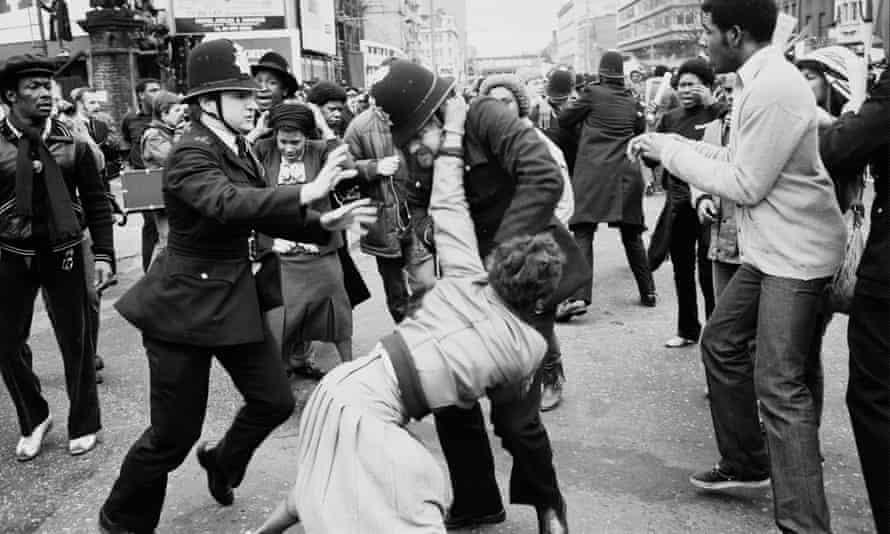 Violent scenes during the protest march that followed the fire in March 1981.