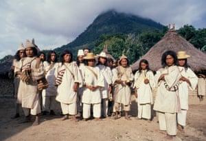 Group of Kogi Mamas or Holy Men signatories. Kogi Colombia.