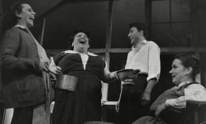 I'm Talking About Jerusalem by Arnold Wesker, 1960, with, left to right, Cherry Morris as Cissie, Jessie Robbins as Esther, Mark Eden as Dave and Ruth Meyers as Ada.