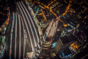 Looking down from 2000ft onto the Shard and London Bridge Station