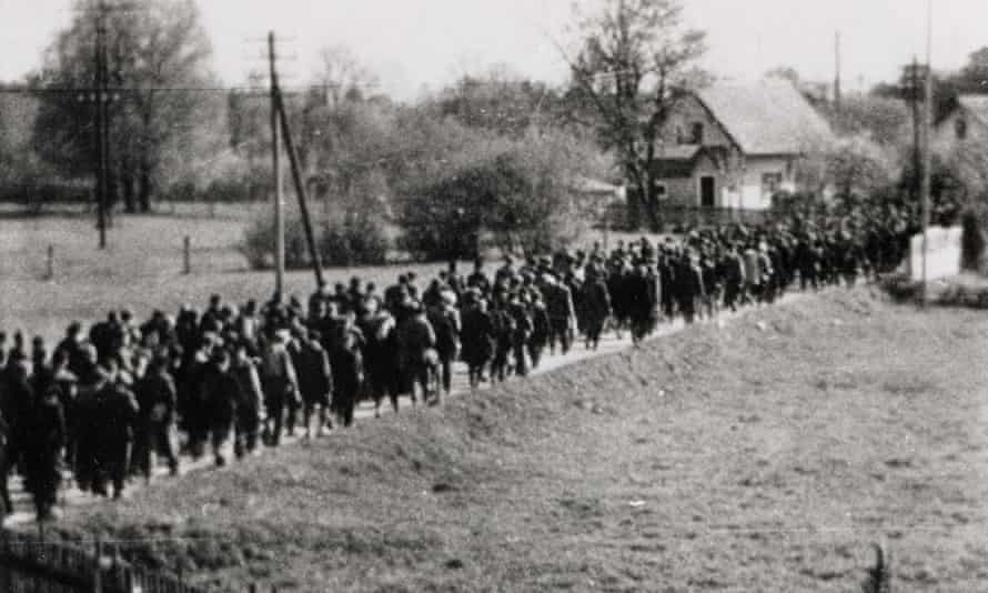 A clandestine image of a forced march from a Nazi camp at the end of the second world war.
