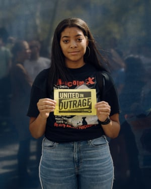 """Cecilia Innis, 19, poses for a portrait at the Climate Strike NYC protest, part of a worldwide day of protests to bring attention to climate change. What scares you most about climate change? """"We are already seeing the effects already. Poor black and brown communities are already effected the most. It is hurting marginalized people. The people that can't leave when hurricanes come for them."""" Why are you marching? """"There is power in numbers. Personally, I can't be an advocate for social justice and not be a part of this."""""""