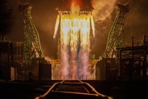 Baikonur Cosmodrome, Kazakhstan: Blastoff for the Soyuz spacecraft carrying the Arktika-M satellite, which will monitor the Arctic's climate