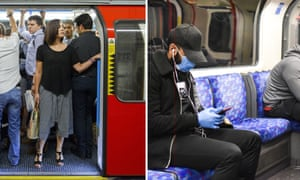 How the tube used to look on a busy morning, left, and socially-distanced travellers now