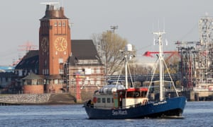 The Sea Watch ship sails up the river Elbe in Hamburg, Germany. The vessel, a converted fishing cutter from a private initiative, will cross the Mediterranean to organise help for refugees in distress at sea