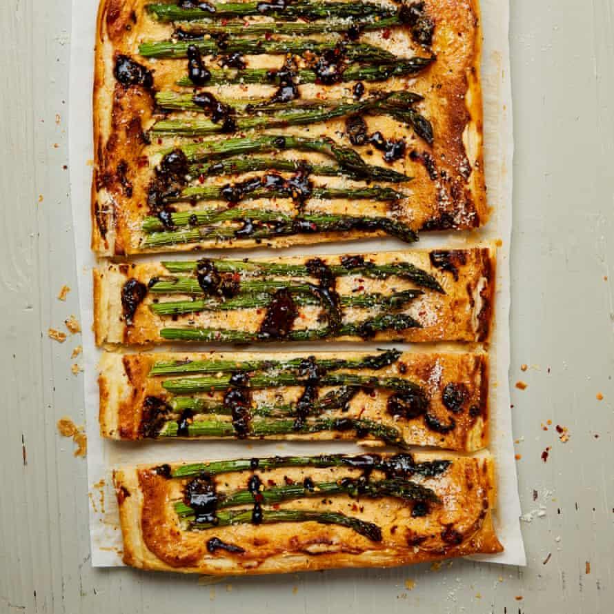 Yotam Ottolenghi's asparagus and ricotta tart with black garlic