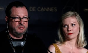 Von Trier makes his Hitler comments in response to Kate Muir's question, while Kirsten Dunst looks on uncomfortably, at a press conference at Cannes in 2011.