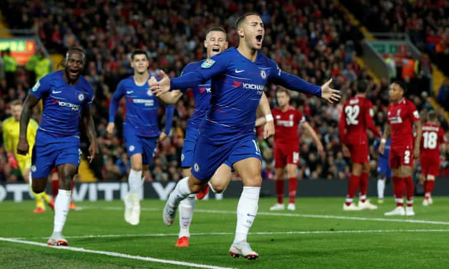 Eden Hazard leaves his Chelsea teammates in awe and the Liverpool players in despair after his wonderful winner.