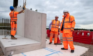 Boris Johnson visits a HS2 construction site in Solihull, West Midlands