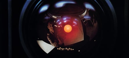 Hal, the computer in 2001: A Space Odyssey (1968), studies astronaut Dave Bowman, played by Keir Dullea.
