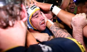 Johnathan Thurston celebrates after his goal won the 2015 NRL grand final for the North Queensland Cowboys against the Brisbane Broncos.