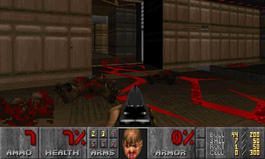 Doom: the thrill of charging through rooms mega-loaded with cybernetic hell beats, discharging your shotgun into the darkness