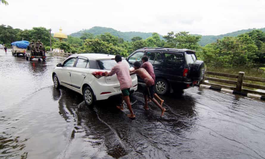 Flooded highway in Assam