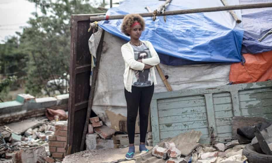 Mahlet Debebe, 28, a resident at Wube Berha, Piassa, who lost her home to the second demolition.