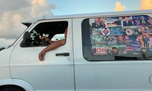 Cesar Sayoc's van is seen in Boca Raton, Florida, U.S., October 18, 2018 in this picture obtained from social media.